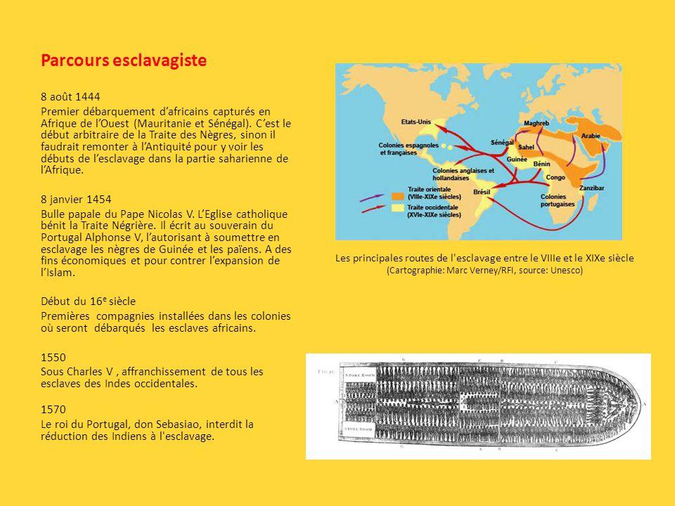 Parcours esclavagiste 8 août 1444 Premier débarquement dafricains capturés en Afrique de lOuest (Mauritanie et Sénégal). Cest le début arbitraire de l