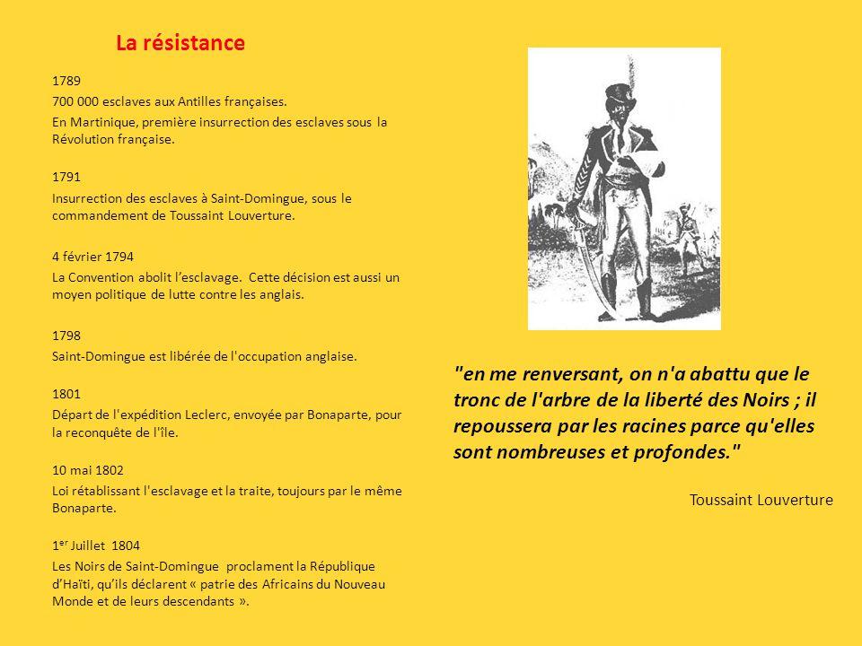 La résistance 1789 700 000 esclaves aux Antilles françaises. En Martinique, première insurrection des esclaves sous la Révolution française. 1791 Insu