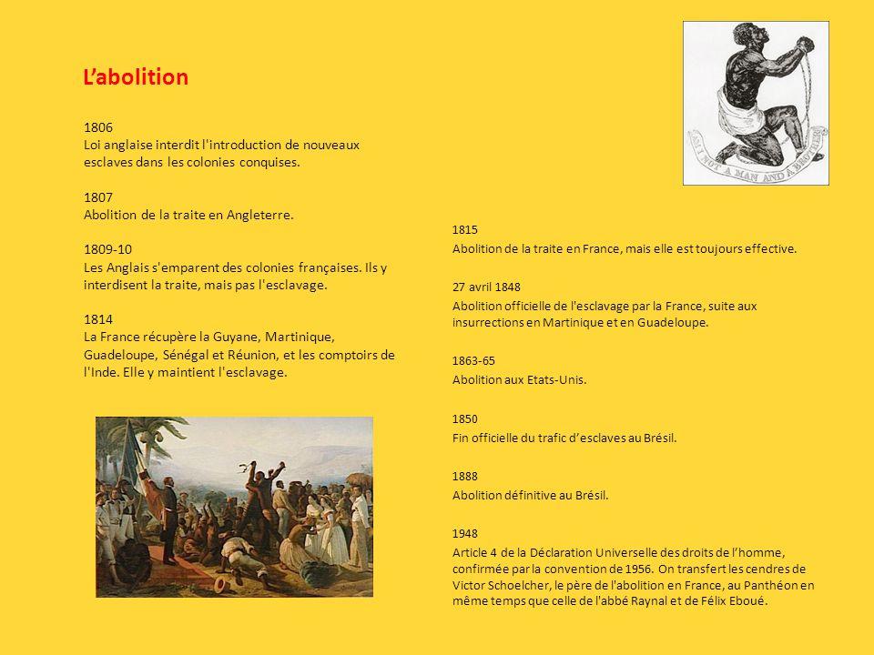 Labolition 1815 Abolition de la traite en France, mais elle est toujours effective.