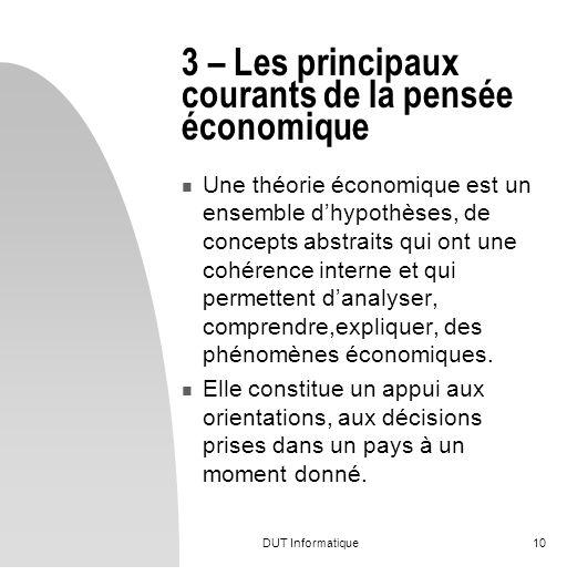 DUT Informatique10 3 – Les principaux courants de la pensée économique Une théorie économique est un ensemble dhypothèses, de concepts abstraits qui o