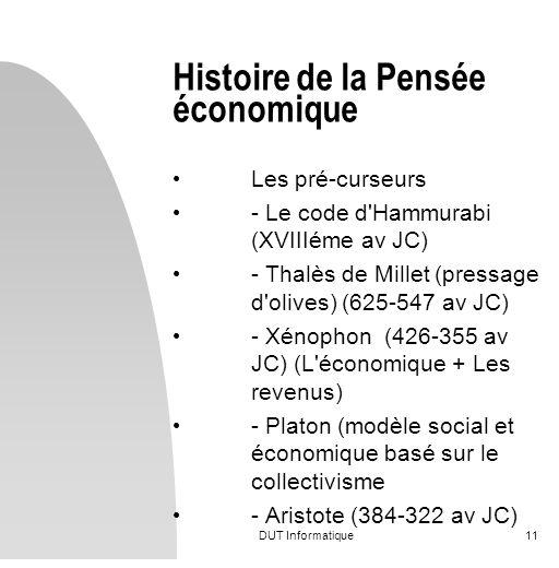 DUT Informatique11 Histoire de la Pensée économique Les pré-curseurs - Le code d'Hammurabi (XVIIIéme av JC) - Thalès de Millet (pressage d'olives) (62