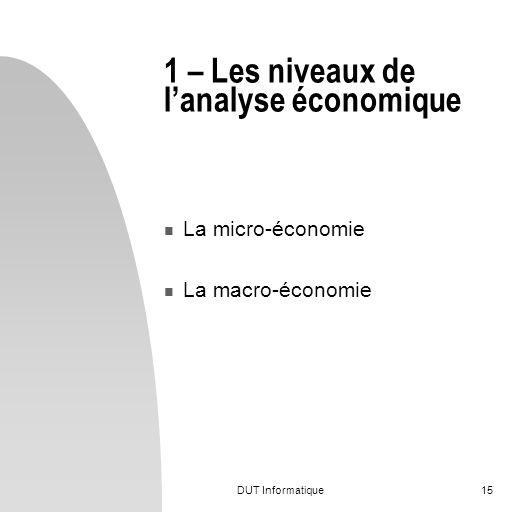 DUT Informatique15 1 – Les niveaux de lanalyse économique La micro-économie La macro-économie