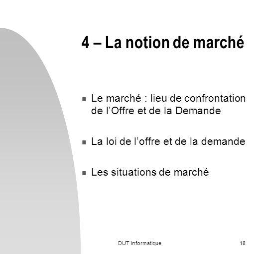 DUT Informatique18 4 – La notion de marché Le marché : lieu de confrontation de lOffre et de la Demande La loi de loffre et de la demande Les situatio