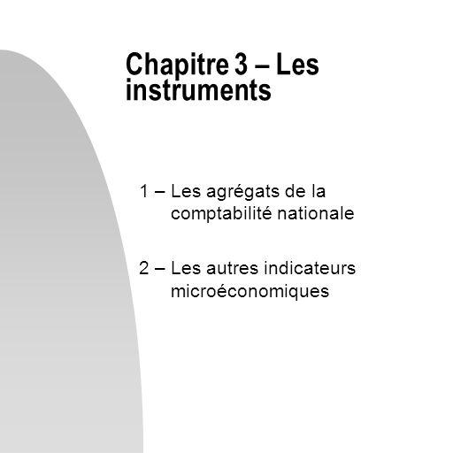 1 – Les agrégats de la comptabilité nationale 2 – Les autres indicateurs microéconomiques Chapitre 3 – Les instruments