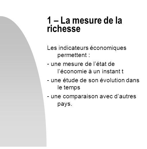 Les indicateurs économiques permettent : - une mesure de létat de léconomie à un instant t - une étude de son évolution dans le temps - une comparaiso