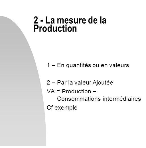 1 – En quantités ou en valeurs 2 – Par la valeur Ajoutée VA = Production – Consommations intermédiaires Cf exemple 2 - La mesure de la Production