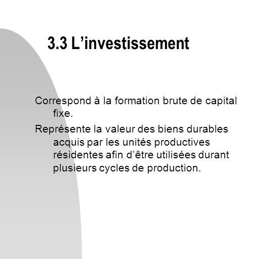 Correspond à la formation brute de capital fixe. Représente la valeur des biens durables acquis par les unités productives résidentes afin dêtre utili