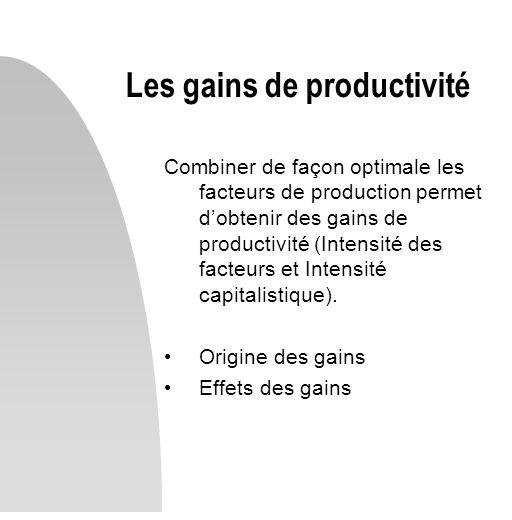 Combiner de façon optimale les facteurs de production permet dobtenir des gains de productivité (Intensité des facteurs et Intensité capitalistique).