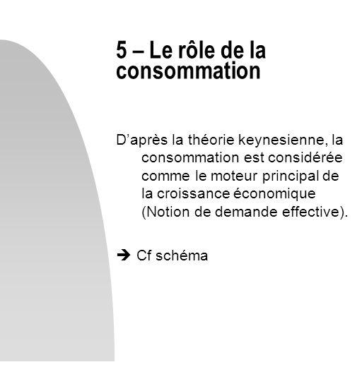 Daprès la théorie keynesienne, la consommation est considérée comme le moteur principal de la croissance économique (Notion de demande effective). Cf