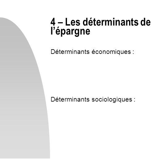 Déterminants économiques : Déterminants sociologiques : 4 – Les déterminants de lépargne