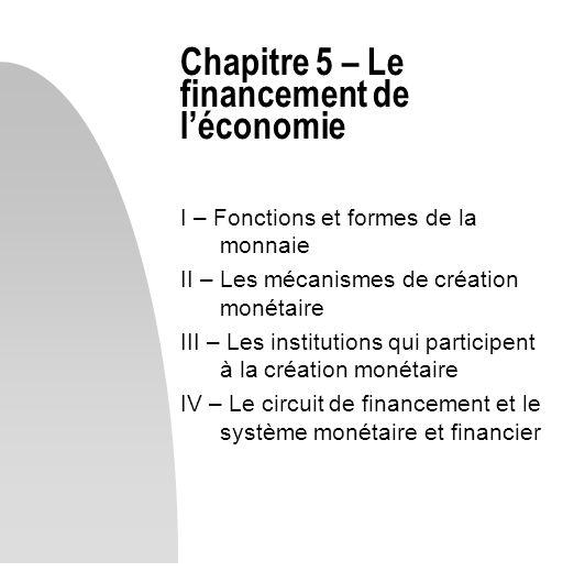 Chapitre 5 – Le financement de léconomie I – Fonctions et formes de la monnaie II – Les mécanismes de création monétaire III – Les institutions qui pa