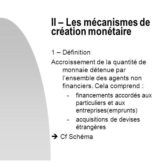 II – Les mécanismes de création monétaire 1 – Définition Accroissement de la quantité de monnaie détenue par lensemble des agents non financiers. Cela