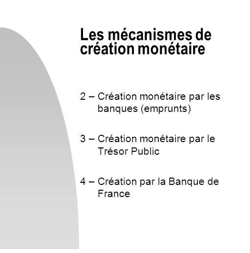 Les mécanismes de création monétaire 2 – Création monétaire par les banques (emprunts) 3 – Création monétaire par le Trésor Public 4 – Création par la