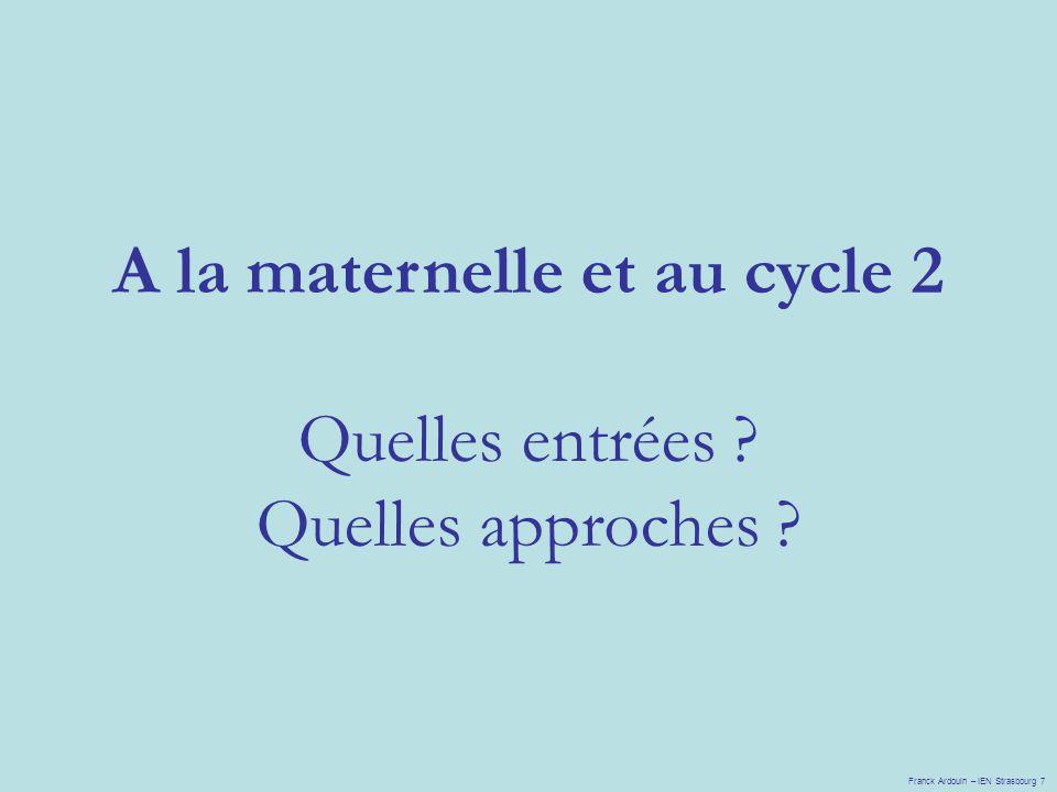 A la maternelle et au cycle 2 Quelles entrées ? Quelles approches ? Franck Ardouin – IEN Strasbourg 7