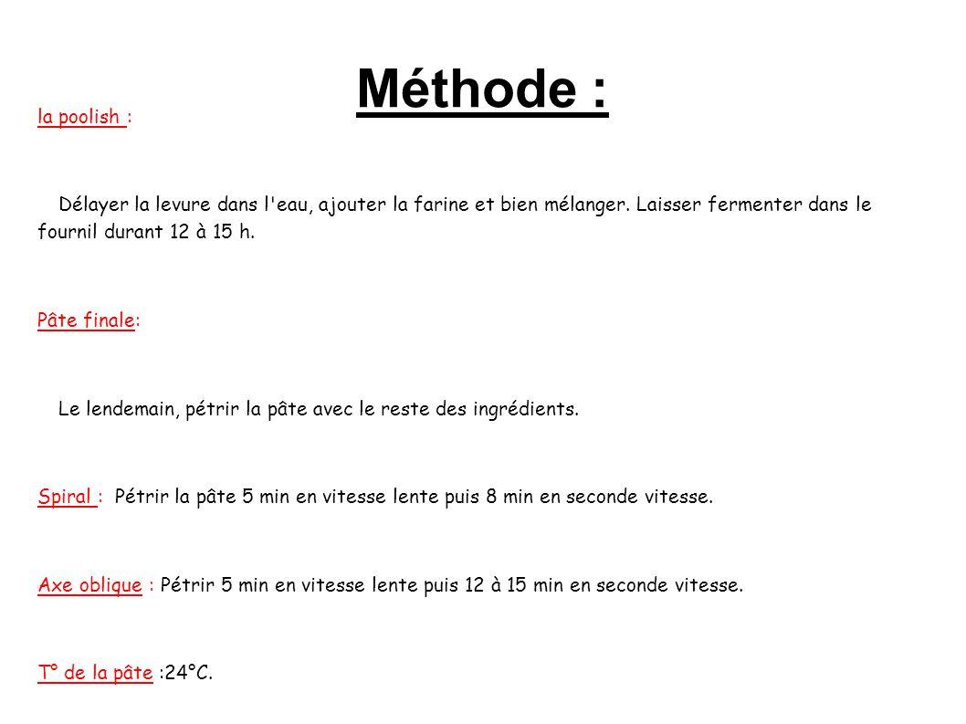 Méthode : la poolish : Délayer la levure dans l'eau, ajouter la farine et bien mélanger. Laisser fermenter dans le fournil durant 12 à 15 h. Pâte fina