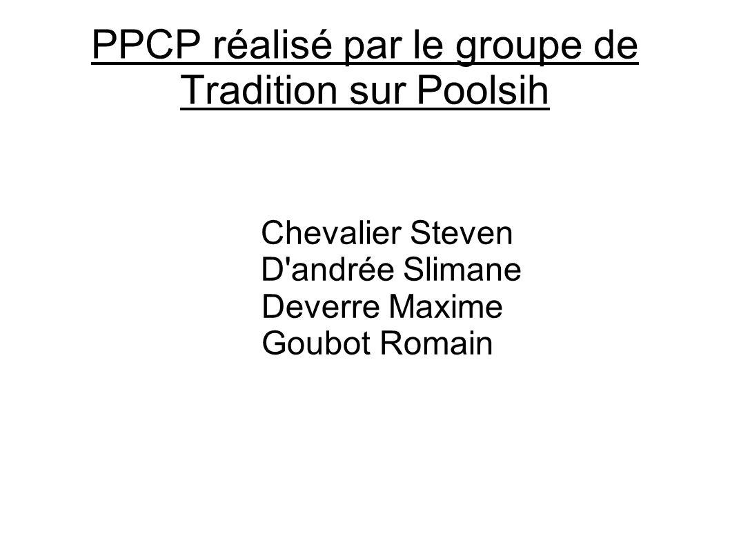 PPCP réalisé par le groupe de Tradition sur Poolsih Chevalier Steven D'andrée Slimane Deverre Maxime Goubot Romain