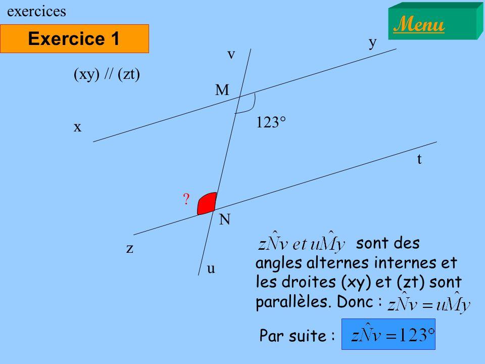 Exercice 1 Menu exercices 123° x y ? (xy) // (zt) sont des angles alternes internes et les droites (xy) et (zt) sont parallèles. Donc : z t M N u v Pa
