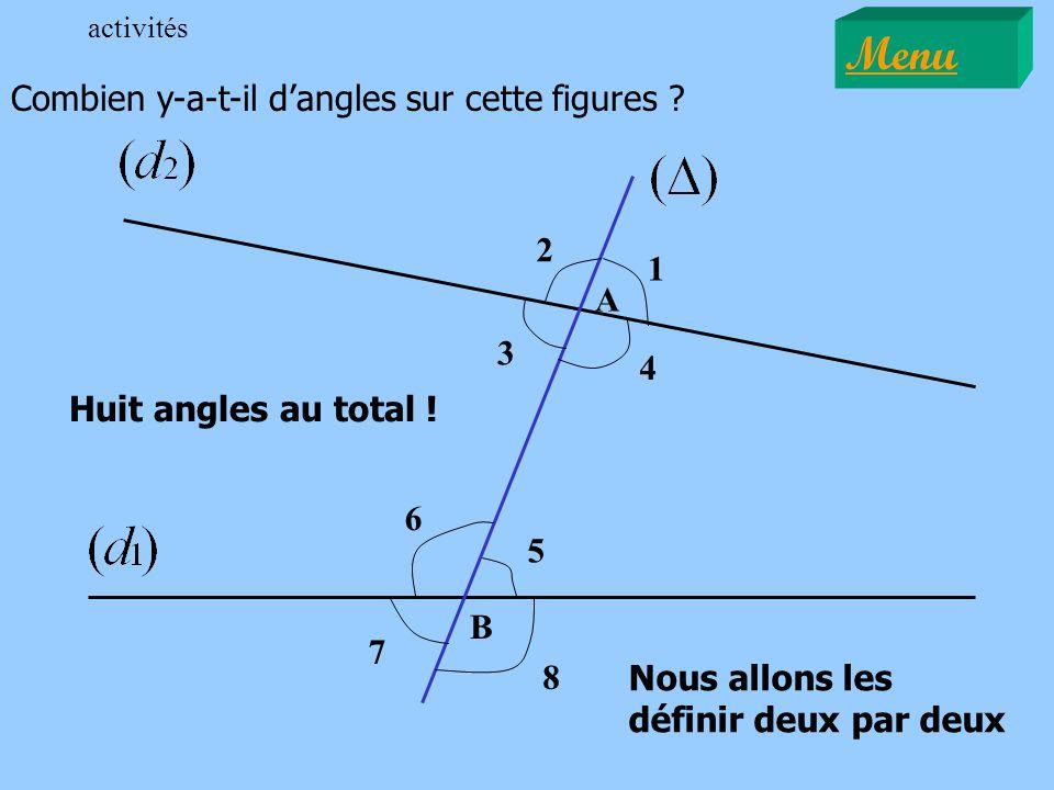 A B Huit angles au total ! 1 2 3 4 5 6 7 8 Nous allons les définir deux par deux Combien y-a-t-il dangles sur cette figures ? Menu activités