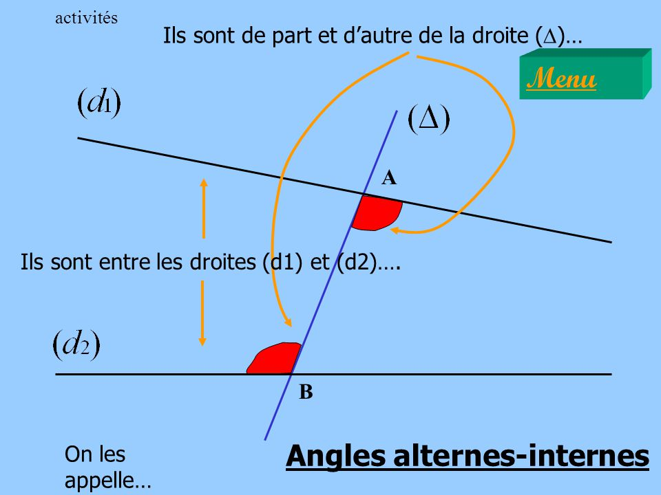 A B Ils sont de part et dautre de la droite ( D )… Ils sont entre les droites (d1) et (d2)…. On les appelle… Angles alternes-internes Menu activités