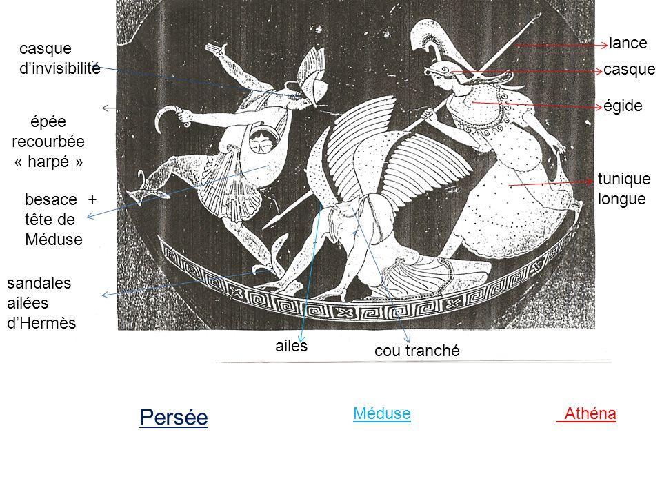 lance casque égide tunique longue Athéna casque dinvisibilité épée recourbée « harpé » besace + tête de Méduse sandales ailées dHermès Persée Méduse a