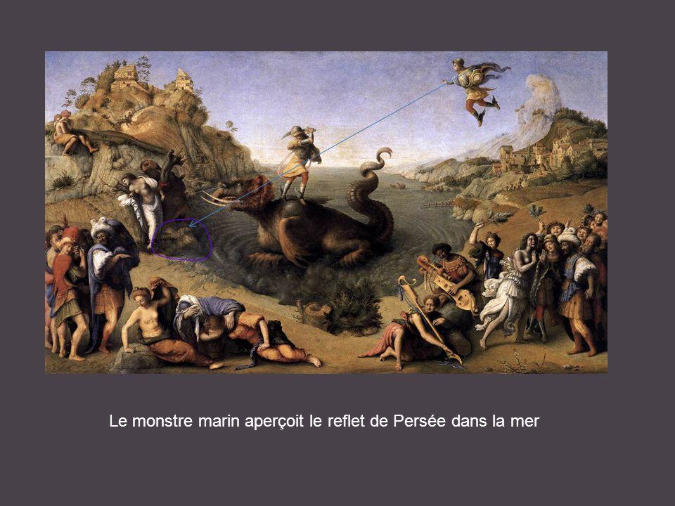 Le monstre marin aperçoit le reflet de Persée dans la mer