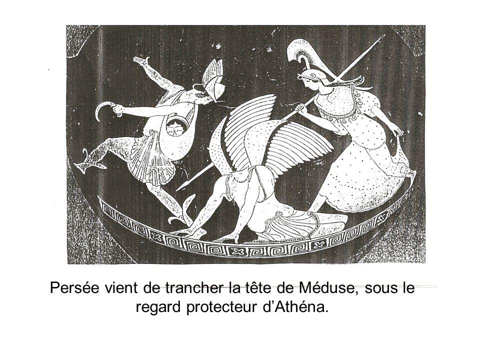 Persée vient de trancher la tête de Méduse, sous le regard protecteur dAthéna.