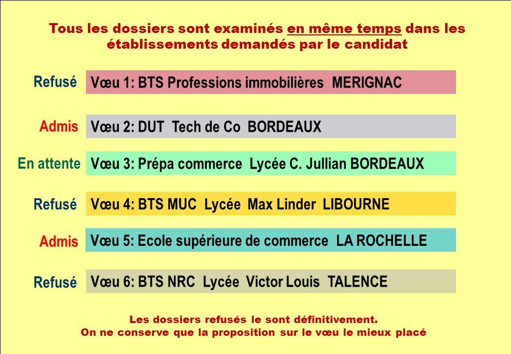 Vœu 1: BTS Professions immobilières MERIGNAC Vœu 2: DUT Tech de Co BORDEAUX Vœu 3: Prépa commerce Lycée C. Jullian BORDEAUX Vœu 4: BTS MUC Lycée Max L