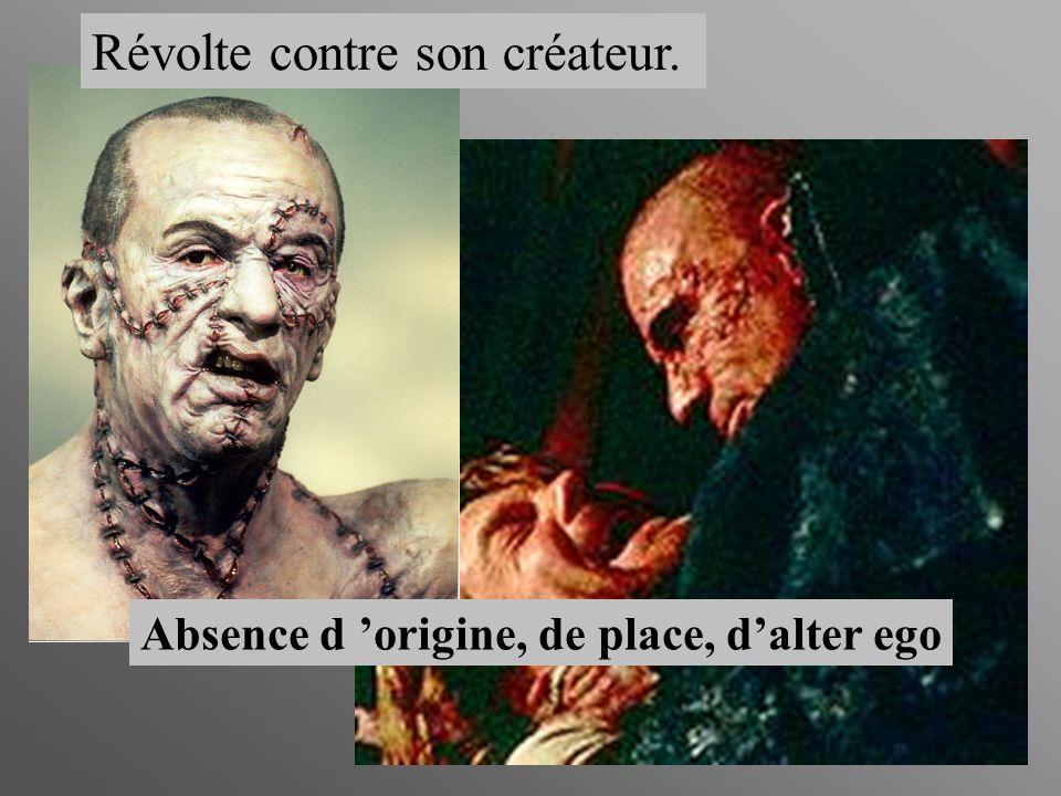 Absence d origine, de place, dalter ego Révolte contre son créateur.