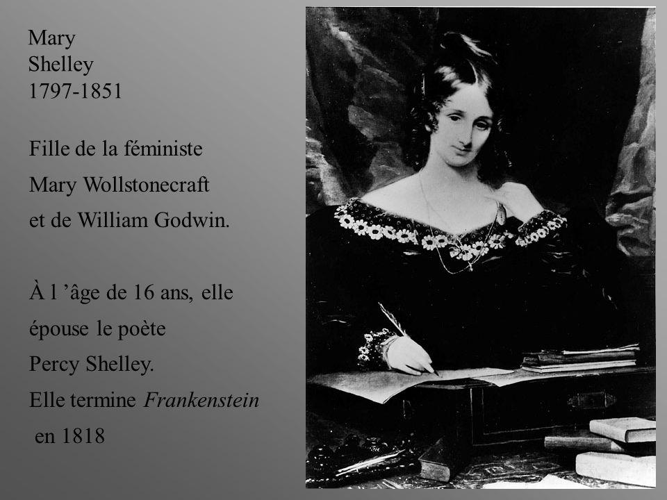Mary Shelley 1797-1851 Fille de la féministe Mary Wollstonecraft et de William Godwin.