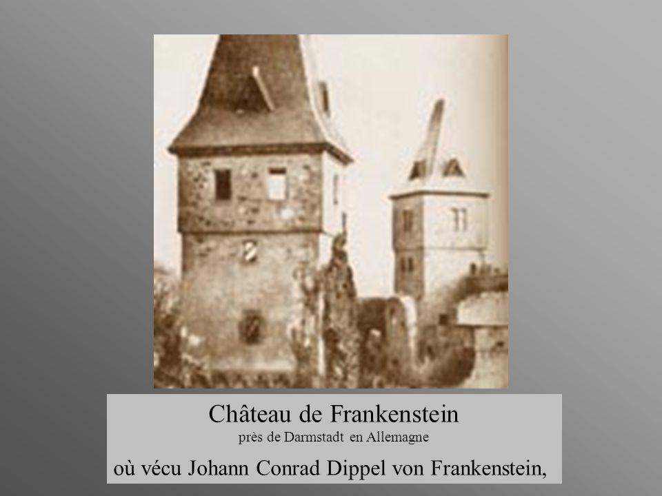 Fin Réalisé par Richard Lemire pour le cours Grandes Figures de limaginaire 305-GAE-03 Hiver 2007 Château de Frankenstein près de Darmstadt en Allemagne où vécu Johann Conrad Dippel von Frankenstein,