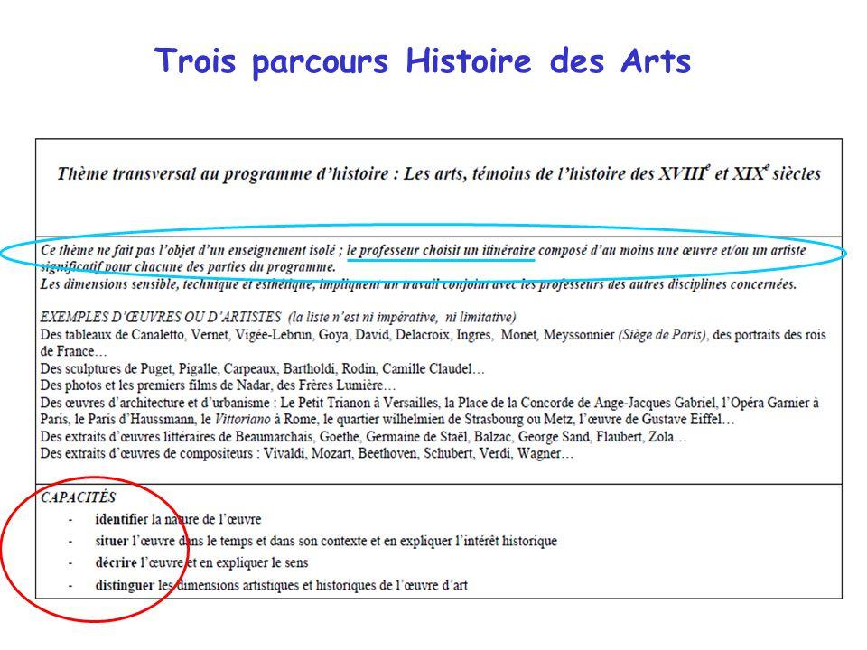 Trois parcours Histoire des Arts