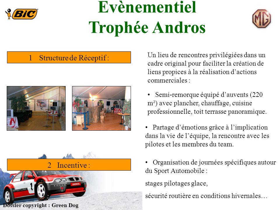 Évènementiel Trophée Andros 1Structure de Réceptif : 2 Incentive : Semi-remorque équipé dauvents (220 m²) avec plancher, chauffage, cuisine profession