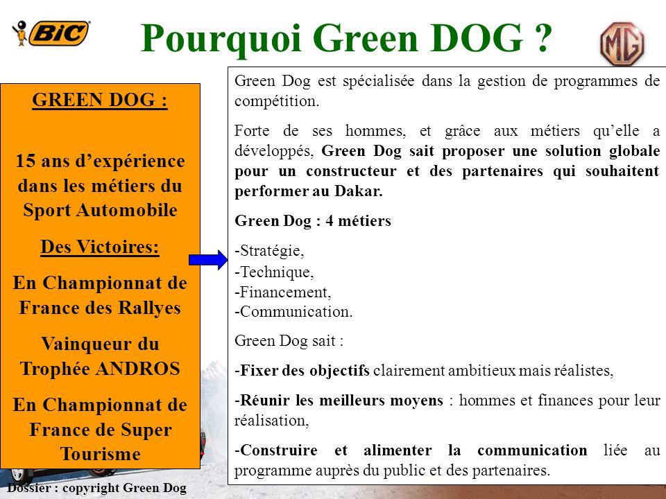 Pourquoi Green DOG ? Dossier : copyright Green Dog GREEN DOG : 15 ans dexpérience dans les métiers du Sport Automobile Des Victoires: En Championnat d