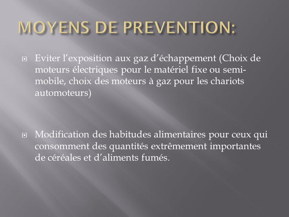 Eviter lexposition aux gaz déchappement (Choix de moteurs électriques pour le matériel fixe ou semi- mobile, choix des moteurs à gaz pour les chariots