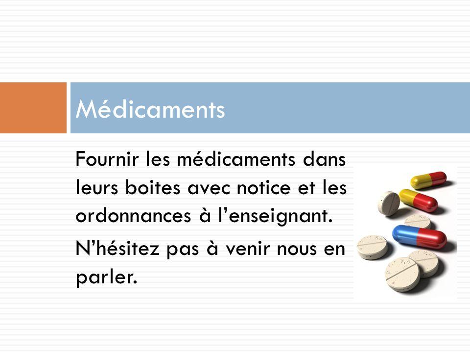 Fournir les médicaments dans leurs boites avec notice et les ordonnances à lenseignant.