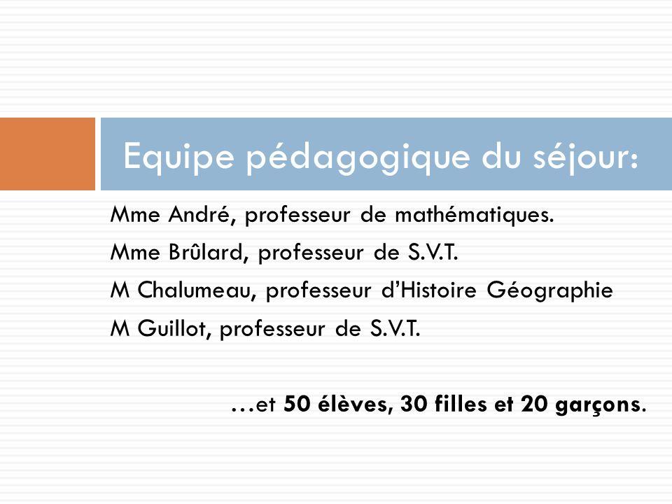 Mme André, professeur de mathématiques.Mme Brûlard, professeur de S.V.T.