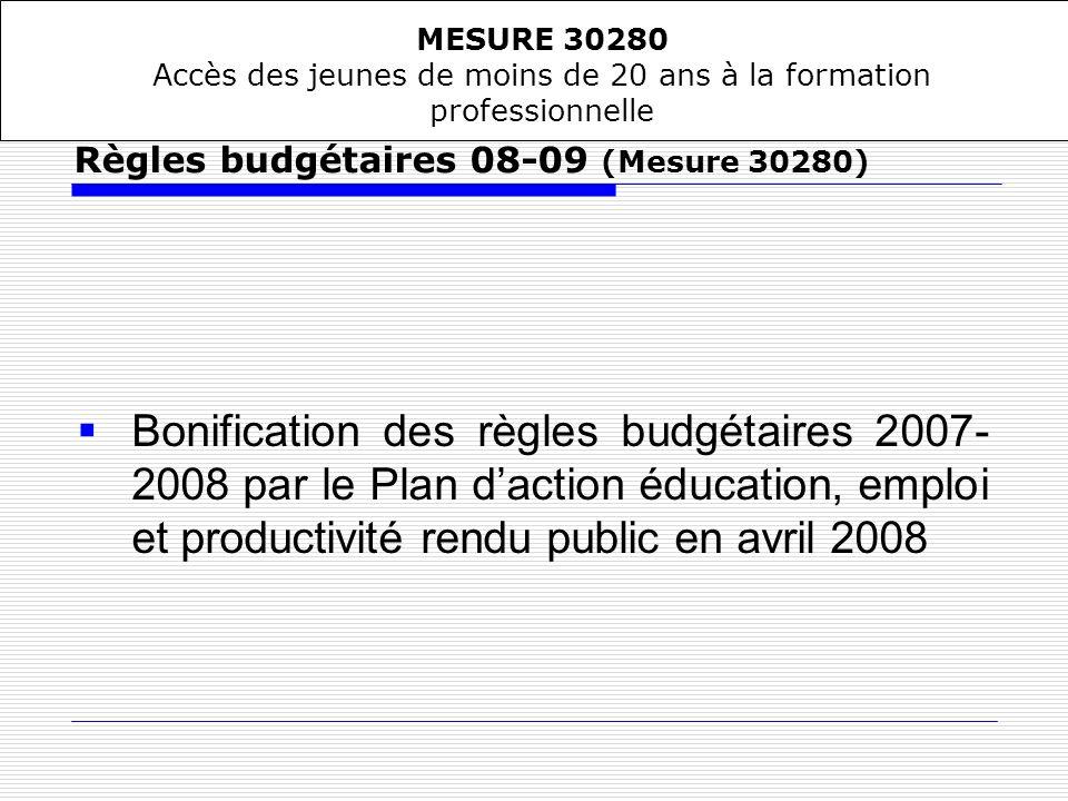 Bonification des règles budgétaires 2007- 2008 par le Plan daction éducation, emploi et productivité rendu public en avril 2008 Règles budgétaires 08-
