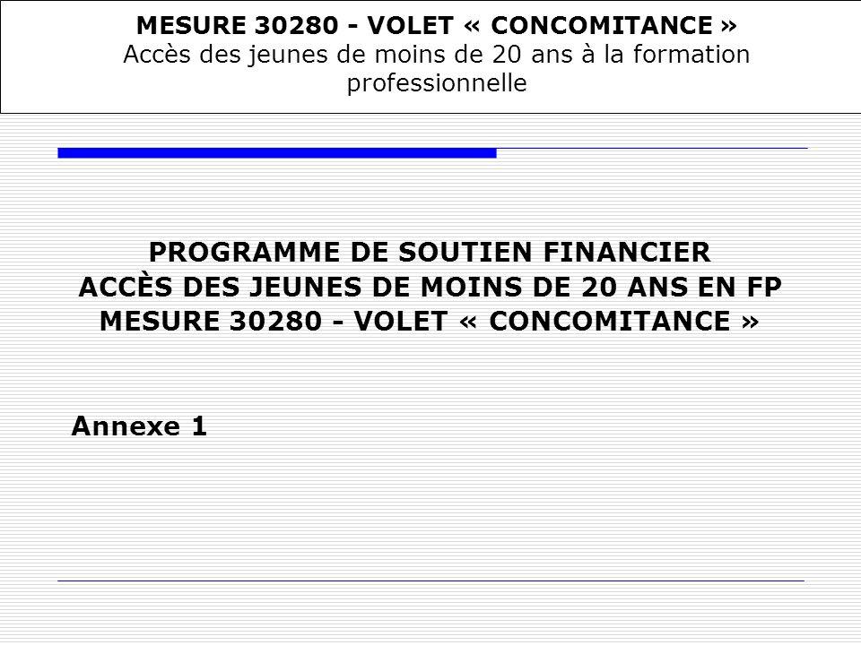 PROGRAMME DE SOUTIEN FINANCIER ACCÈS DES JEUNES DE MOINS DE 20 ANS EN FP MESURE 30280 - VOLET « CONCOMITANCE » Annexe 1 MESURE 30280 - VOLET « CONCOMI
