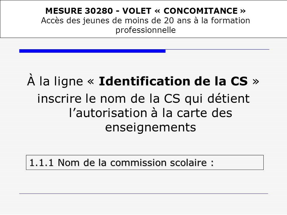À la ligne « Identification de la CS » inscrire le nom de la CS qui détient lautorisation à la carte des enseignements 1.1.1Nom de la commission scola