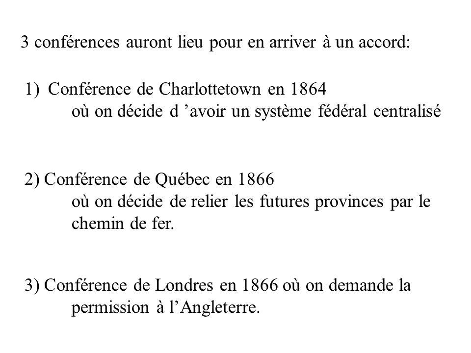 3 conférences auront lieu pour en arriver à un accord: 1)Conférence de Charlottetown en 1864 où on décide d avoir un système fédéral centralisé 2) Con