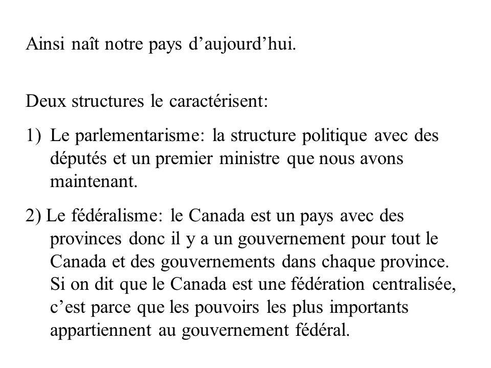 Ainsi naît notre pays daujourdhui. Deux structures le caractérisent: 1)Le parlementarisme: la structure politique avec des députés et un premier minis