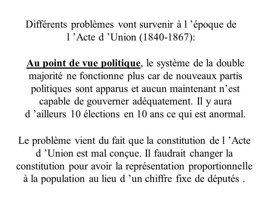 Différents problèmes vont survenir à l époque de l Acte d Union (1840-1867): Au point de vue politique, le système de la double majorité ne fonctionne