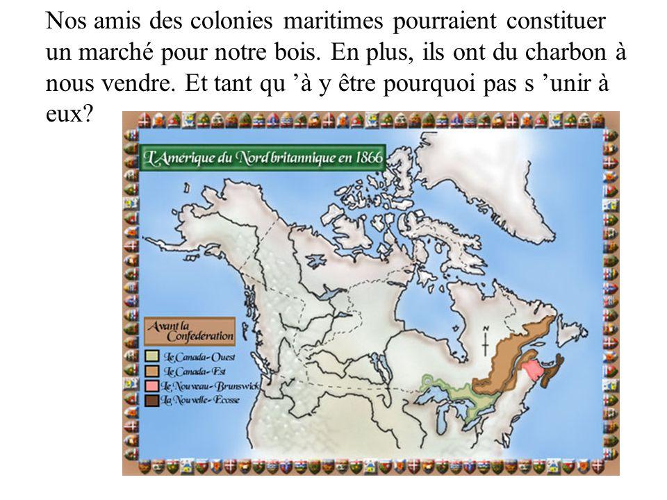 Nos amis des colonies maritimes pourraient constituer un marché pour notre bois. En plus, ils ont du charbon à nous vendre. Et tant qu à y être pourqu