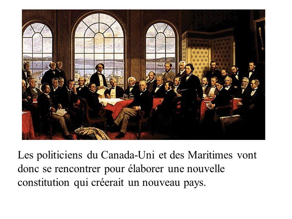 3 conférences auront lieu pour en arriver à un accord: 1)Conférence de Charlottetown en 1864 où on décide d avoir un système fédéral centralisé 2) Conférence de Québec en 1866 où on décide de relier les futures provinces par le chemin de fer.