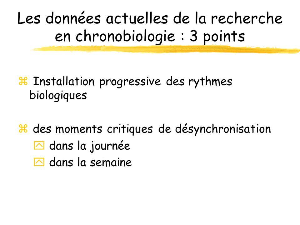 Les données actuelles de la recherche en chronobiologie : 3 points Installation progressive des rythmes biologiques z des moments critiques de désynch