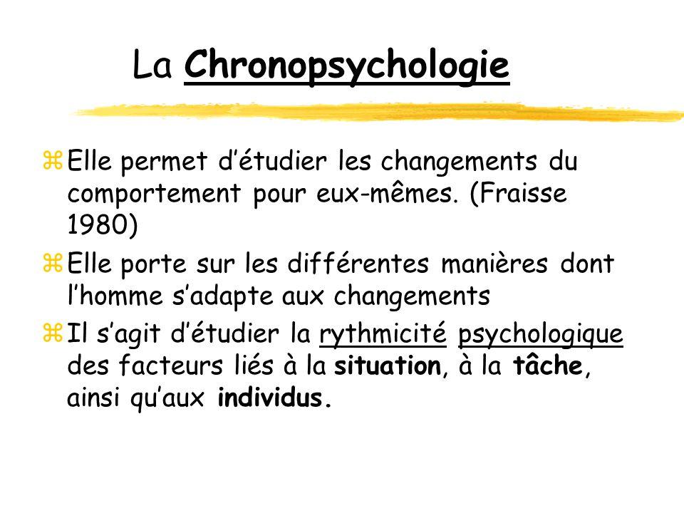 La Chronopsychologie zElle permet détudier les changements du comportement pour eux-mêmes. (Fraisse 1980) zElle porte sur les différentes manières don