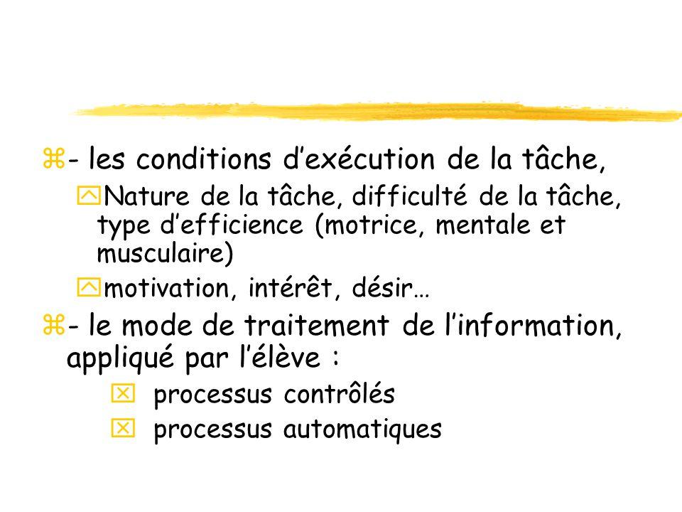 z- les conditions dexécution de la tâche, yNature de la tâche, difficulté de la tâche, type defficience (motrice, mentale et musculaire) ymotivation,