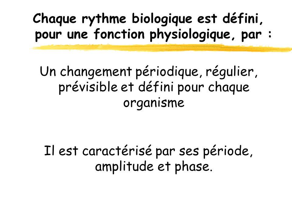 Il est caractérisé par ses période, amplitude et phase. Chaque rythme biologique est défini, pour une fonction physiologique, par : Un changement péri