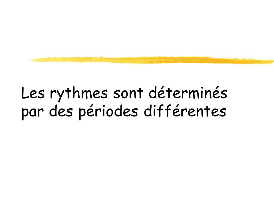 zRythmes Ultradiens zRythmes circadiens zRythmes mensuels zRythmes annuels ou circannuels