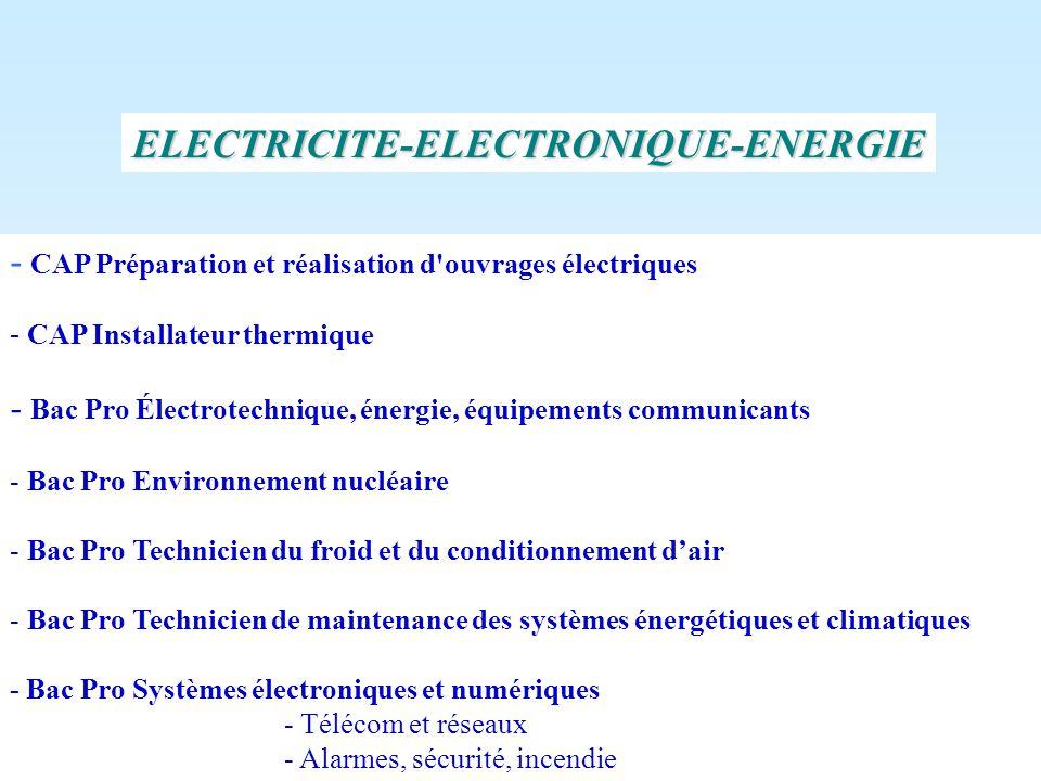 - CAP Préparation et réalisation d'ouvrages électriques - CAP Installateur thermique - Bac Pro Électrotechnique, énergie, équipements communicants - B